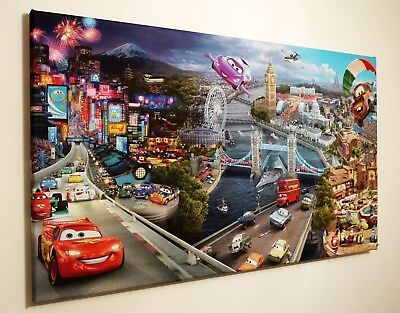 Disney Cars  Canvas Wall Art Picture 18 X 32 Inch Framed Print
