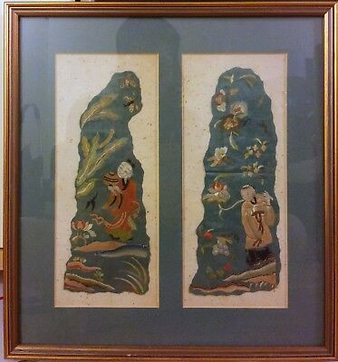 Chinese Silk  Embroidered Figure with Frame