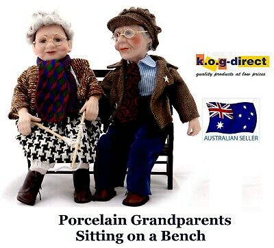 Porcelain Collectable Dolls Grandma And Grandpa Sitting On Bench New B28
