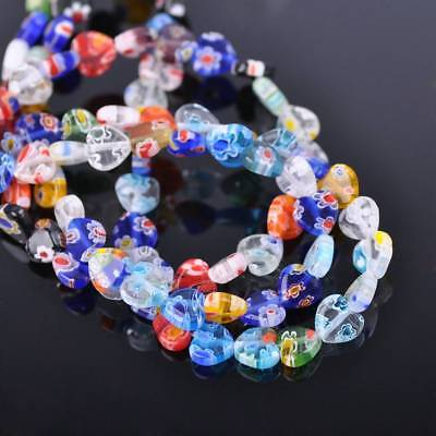 50pcs 8mm Heart Shape Colorful Millefiori Glass Loose Spacer DIY Craft Beads