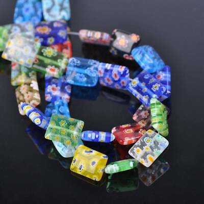 50pcs 10x12mm Rectangle Colorful Millefiori Glass Loose Spacer DIY Craft Beads
