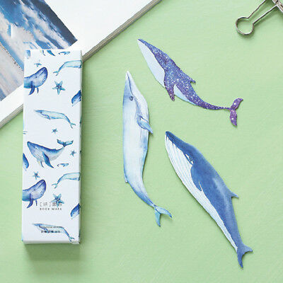 30pcs/box Cute Cartoon Whale Paper Bookmark School Stationery Kids Gift Fishes