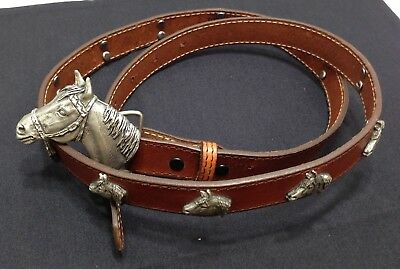 Equestrian - Western - Leather Belt - Cognac Brown with 12 Horse Conchos