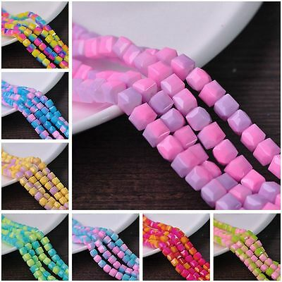 10pcs 8mm Colorful Cube Square Faceted Glass Loose Spacer Beads Jewelry Crafts