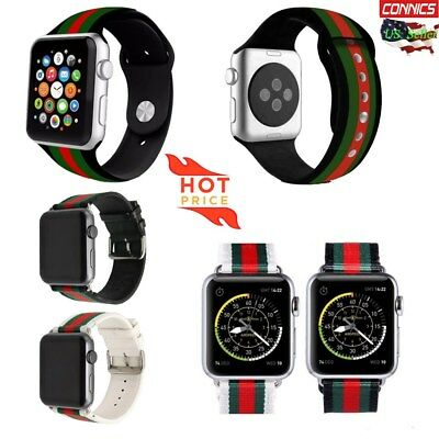 Rubber Sport Loop Watch Band For Apple Woven Leather Watch Band Silicone Straps
