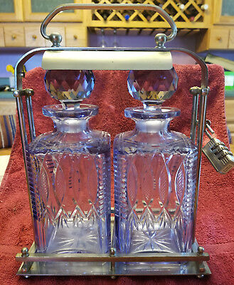 Vintage 2 Bottle Czech Decanter Tantalus with Lock Sun Purple Crystal