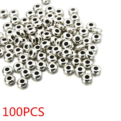 100PC Silver Stainless Steel Round Spacer Beads DIY Jewelry Making Wholesale HS