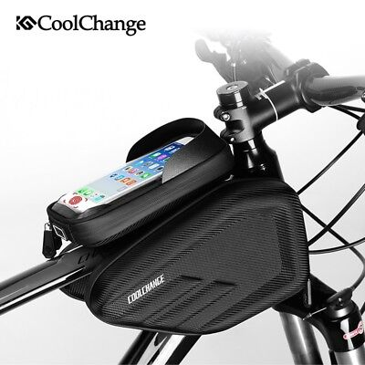 "6.2"" Cycling Bike Front Double Pouch Phone Holder Bicycle Frame Bag Touch Screen"