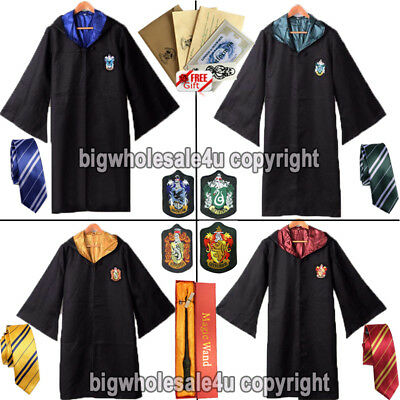 Harry Potter Gryffindor Slytherin Robe Tie Scarf LED Wand Cosplay Costume Set
