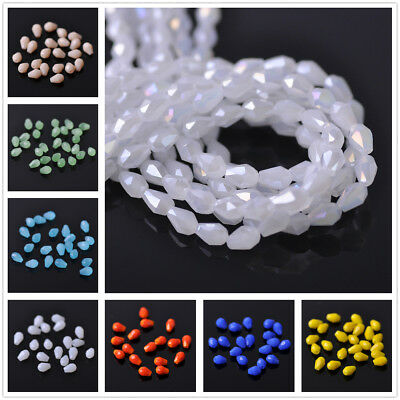100pcs 5X3mm Teardrop Faceted Crystal Glass Loose Spacer Bead Jewelry Handmade