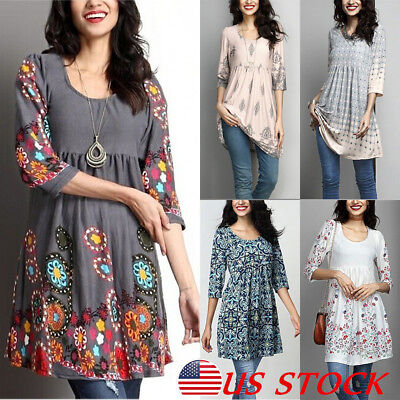 Women's Loose 3/4 Sleeve Cotton Casual Blouse Shirt Tunic Tops Floral Shirts USA