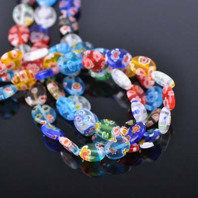 50pcs 8x10mm Oval Colorful Millefiori Glass Loose Spacer DIY Craft Beads Lots