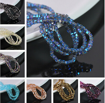 200pcs 3mm Square Faceted Glass Loose Spacer Beads Wholesale Jewelry Making DIY
