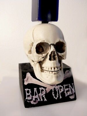 LOT OF 5  BEER TAP HANDLE DISPLAYs SKULL AND BONES w/ BAR OPEN SIGN