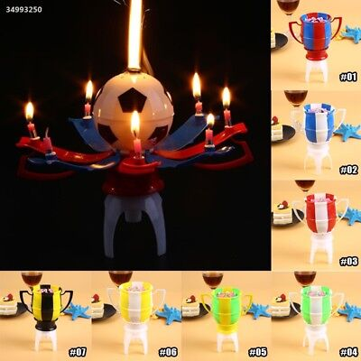 EF3F Automatic Blossom Music Candle Children Party Banquet Football Trophy Gift