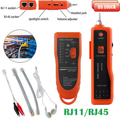 RJ45/11 Telephone Lan Network Wire Tracker Cable Tester Finder Tracer Toner Test