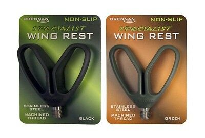 Drennan Specialist Non-Slip Wing or Crook Rod Rest Heads Black or Green Fishing