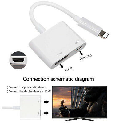 Lightning to HDMI Digital AV TV Adapter Cable For Apple Iphone 6 7 8 Plus X Ipad
