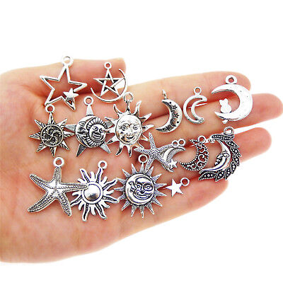Lot of 15 Assorted Mix Vintage Silver Metal Sun Moon Star Charms Pendants DIY