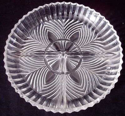 3-Part Divided Relish Dish Indiana Glass 259 Clear Depression Fans Pointed Edge