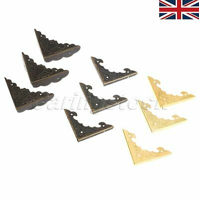 UK STOCK Antique brass Jewelry Wine Gift Box Wooden Corner Protector Guard 12pcs