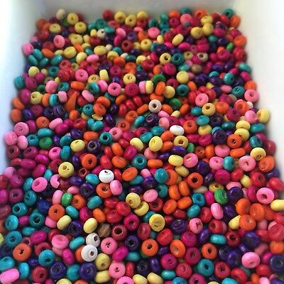 250 Mixed Multi Colour Wooden Beads 4x2mm Rondelle Spacer DIY Loose Wood Bead