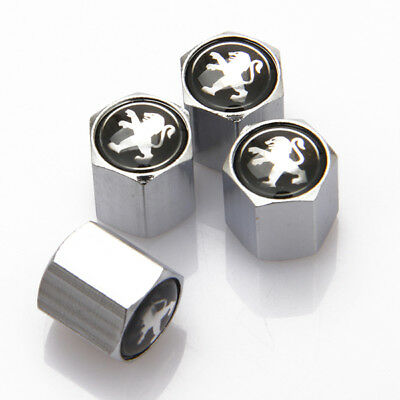 4x Universal Car Logo Auto Tyre Valve Stems Caps Tire Dust Coves Fit For Peugeot