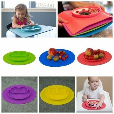 One-piece Silicone Mat Baby Kid Table Food Dish Suction Tray Placemat Plate Bowl