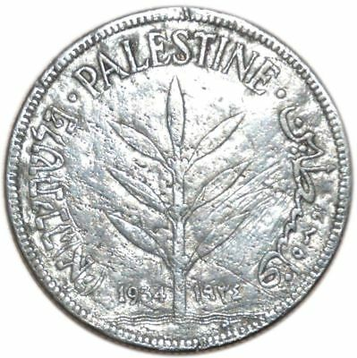 F Coin Silver 11,66 gr Palestine 100 Mils Km#7 1934 Middle East