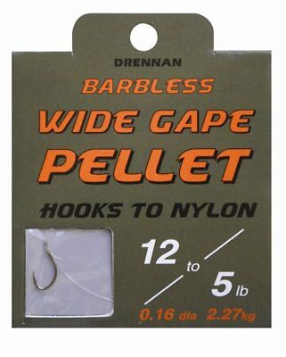 Drennan Wide Gape Pellet Hooks To Nylon Barbless All Sizes Coarse Match Fishing