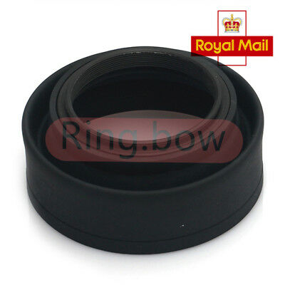 49mm 3-Stage Collapsible 3in1 Rubber Lens Hood for Canon Nikon Pentax Camera UK