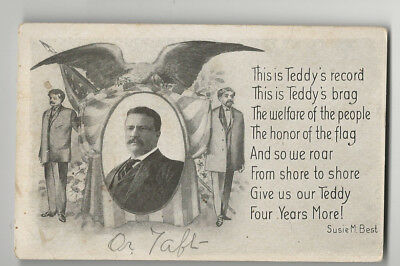 1908 Theodore Roosevelt Third Term Postcard With a Poem By Susie Best