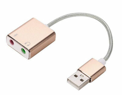 External USB Audio Adapter Jack 3.5mm Earphone Microphone for MacBook and PC