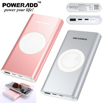 Poweradd 10000mAh Qi  Wireless 3 in 1 Power Bank Portable Charger For iPhone X 8