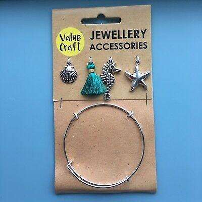 Jewellery Making Kit 5pcs DIY Sea Charm Bracelet Crafts Gift For Girls and Women