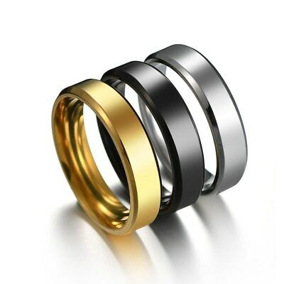 6mm Black/Gold/Silver Stainless Steel Ring Men Womens High Polished Band Fashion