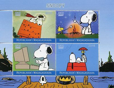 Madagascar 2018 CTO Snoopy Peanuts 4v M/S Cartoons Comics Stamps