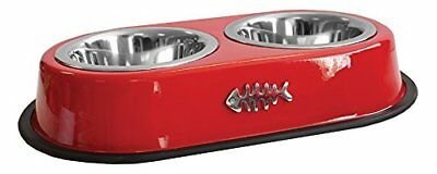 Pet Platter Red Non-Slip Deluxe Double Diner for Cats 2 x 370 ml Bowls