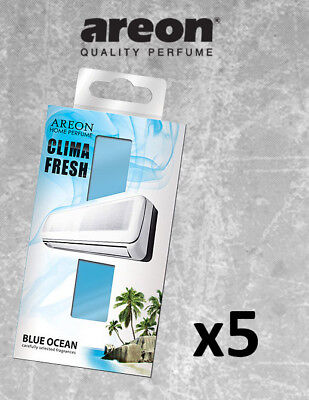 5x Areon Clima Fresh *Blue Ocean* Air Conditioner Freshener  + Free Gift