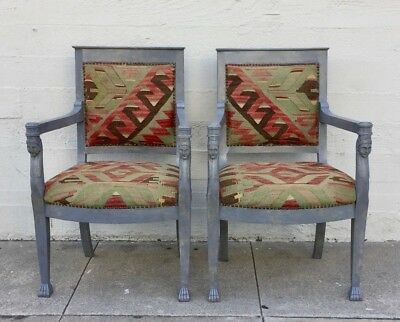 Pair Egyptian Revival Faux Painted Marble Carved Wood Arm Chairs Turkish Kilim