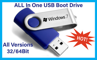 Windows 7 All In One USB Boot Drive Install,Repair,Recovery All Versions 32/64