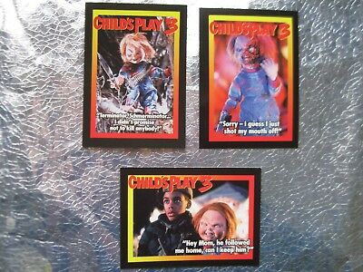 CHILD'S PLAY 3 PROMO MOVIE CARDS LOT 1 of 5 & 3 of 5 4 of 5 1991 Scarce