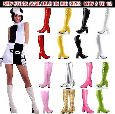 Womens Ladies Fancy Dress Party GOGO Boots - 60s & 70s Party Sizes 3 TO 8
