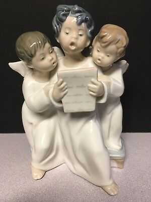 Lladro #4542 Group Of Angels Singing Figurine Porcelain Statue Retired