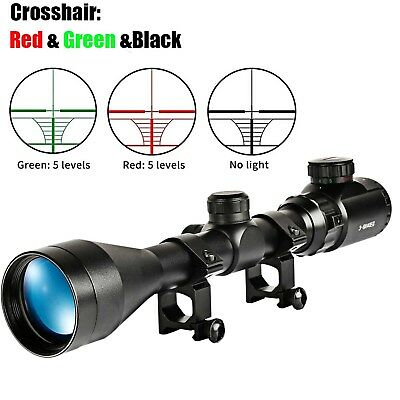 Tactical Rifle Scope 3-9X40 Red Green Illuminated Optics Hunting Gun Scope