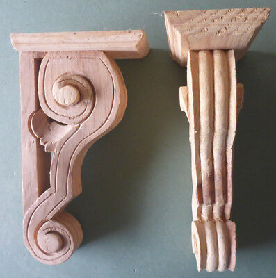 Two x Small Pierced Hand Carved Wooden Brackets, (Batch 121)