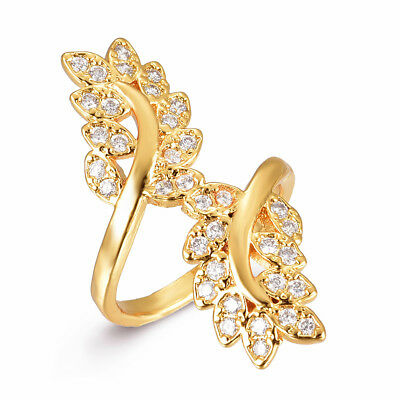NEW Women 18K Gold Plated Micro Pave Leaf Flower Cubic Zirconia CZ Ring Jewelry