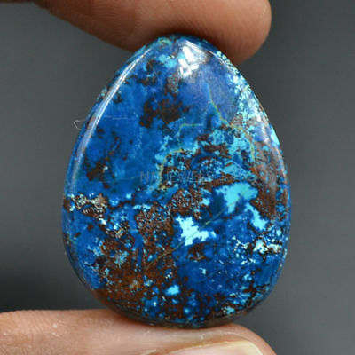 Cts. 35.00 Natural Azure Color Azurite Cabochon Fancy Pear Loose Gemstone