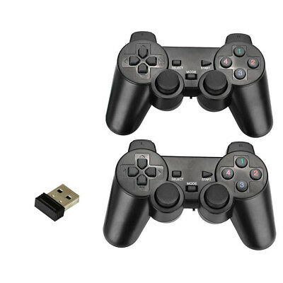 2Pcs 2.4Ghz Wireless Game Controller with Dual Vibration Joysticks For PC Games