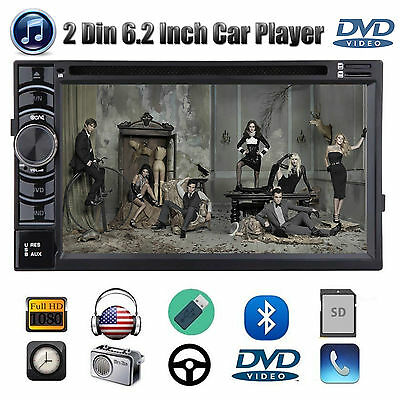 Double 2 DIN In dash Car Stereo Radio CD DVD MP3 Player Bluetooth SD HD AUX USB